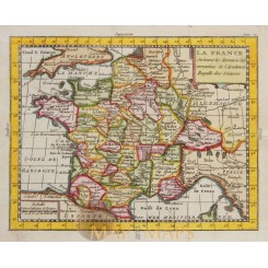 FRANCE ANTIQUE OLD MAP BY CLAUDE BUFFIER 1769