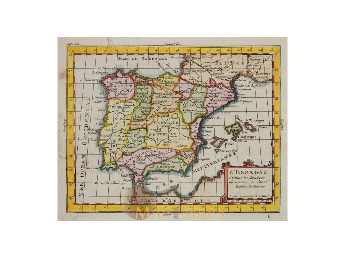 Spain Portugal Old Map Claude Buffier Mapandmaps - Map of portugal spain