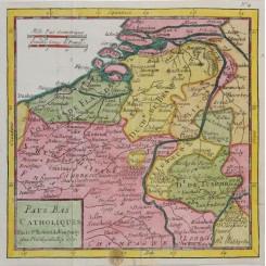 Pays Bas Catholiques Belgium Flanders map Vaugondy 1750
