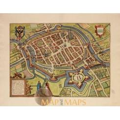 Groningen Groninga Antique plan - Van Deventer 1613