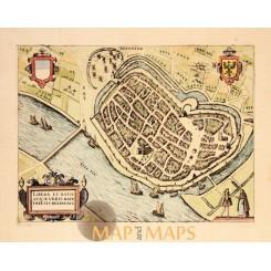 Deventer Antique Town plan by Giucciardini 1613