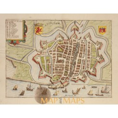 Gorinchem Holland Old Map Gorchum Giucciardini 1612