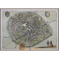 ANTIQUE MAP,CITY OF TIENEN,THIENEN,FLEMISH BELGIUM,GIUCCIARDINI/ BLAEU 1612