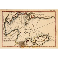 Toulon Fortifications France, old chart Joseph Roux 1764