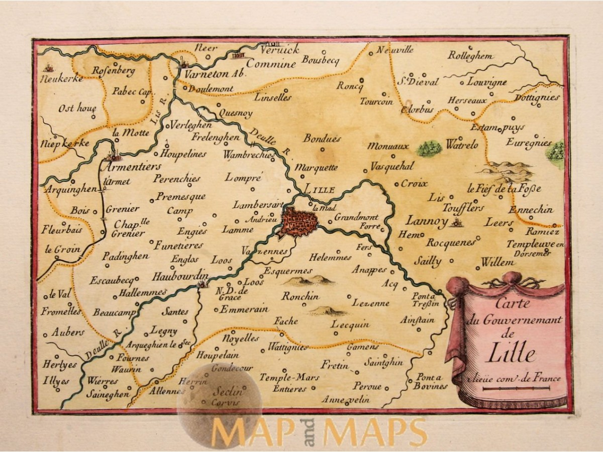 Lille North France old map Beaulieu 1688 Mapandmaps