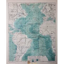 Antique Old Map, depts. Atlantic Ocean 1905