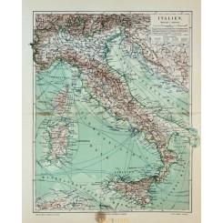 Antique Old Map Italy, Sicily Sardinia 1905