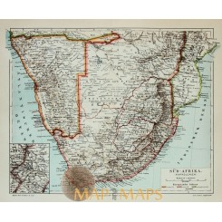 Antique Old Map Colonial South Africa 1905