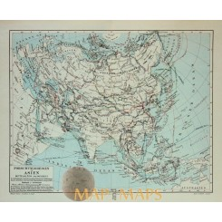 Antique Old Map Voyages in Asia 1905