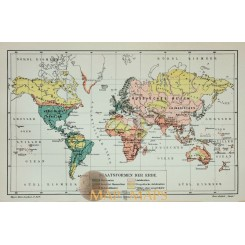 Antique Old Map World map, State forms 1905