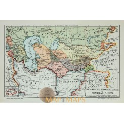 Antique Old Map Russian conquests in Central Asia 1905