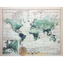 Antique Old Map Precipitation on the Earth 1905