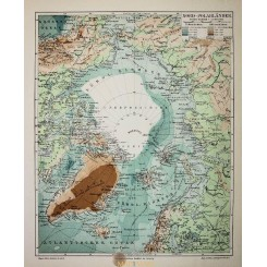 Antique Old Map North Pole Greenland Iceland 1905