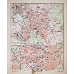 Antique Old Town Plan of Hannover Germany. 1905