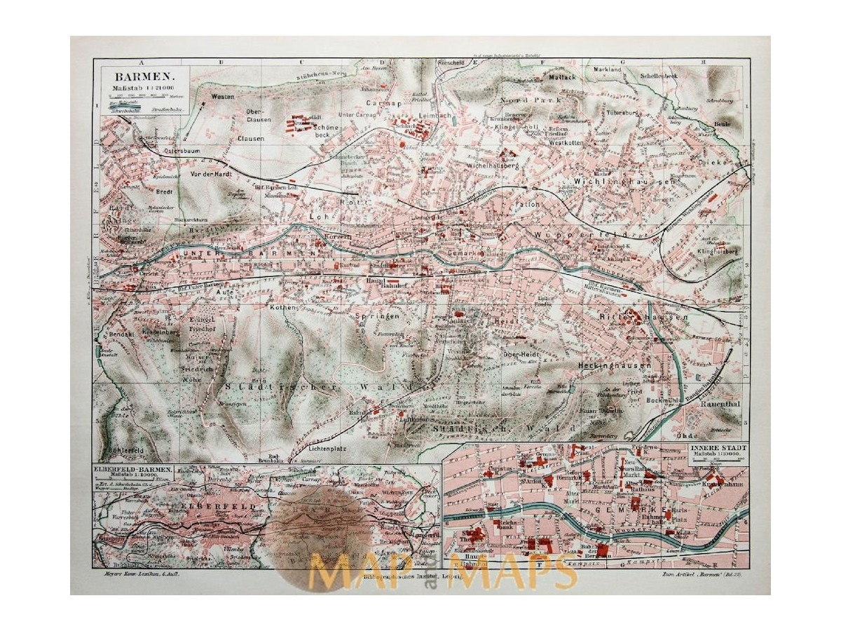 Antique Old Map Barmen Wuppertal 1905 Mapandmaps