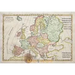 Old copper plate map, Europe Latvia Poland by Rigobert Bonne 1787