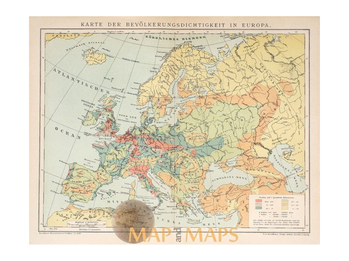 Perfect Antique Map Of Population Density In Europe. Meyers 1895. Loading Zoom