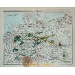 Antique Map of mining in Germany. 1905