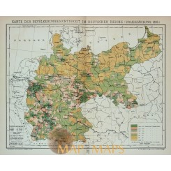 Antique Map population density in Germany. 1905