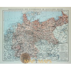 Antique Map of the railways in Germany. 1905