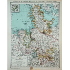 Antique Old detailed Map of North Germany.
