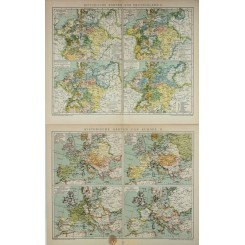 Antique Historical maps of Europe & Germany 1905