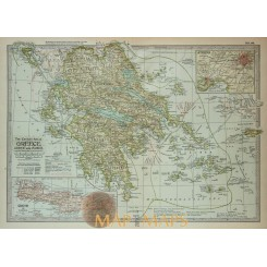 Antique map Greece Athens Crete by Centery Co 1902