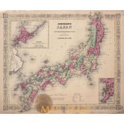 Japan map with inlay maps of Hokkaido & Nagasaki 1864