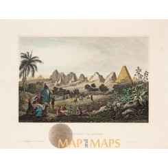 Pyramiden von Merou Old antique Egypt print Meyers 1850