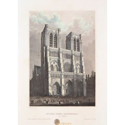 NOTRE DAME, HISTORIC ROMAN CATHOLIC MARIAN CATHEDRAL OLD PRINT BY MEYERS 1852