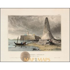 Pyramids at Giza Egypt OLD PRINT Gizeh in Eegypten MEYERS 1856