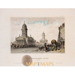 Gendarmenmarkt, Antique print Germany 1839
