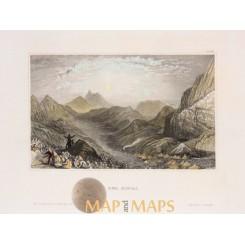 MOSES MOUNTAIN SINAI PENINSULA OF EGYPT ANTIQUE PRINT DER SINAI MEYERS 1850