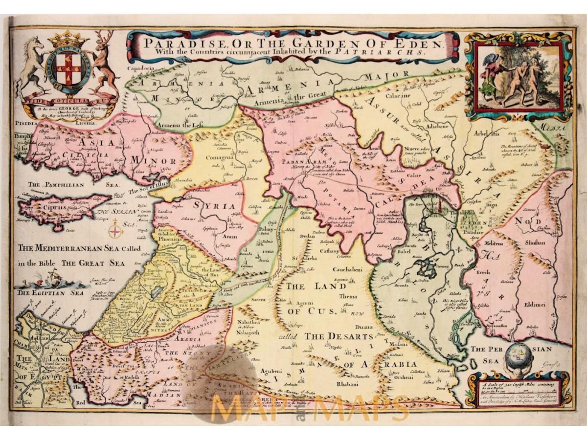 Paradise Or The Garden Of Eden Bible Map Moxon 1714