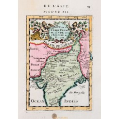 Mughal Empire antique map India Mallet 1683