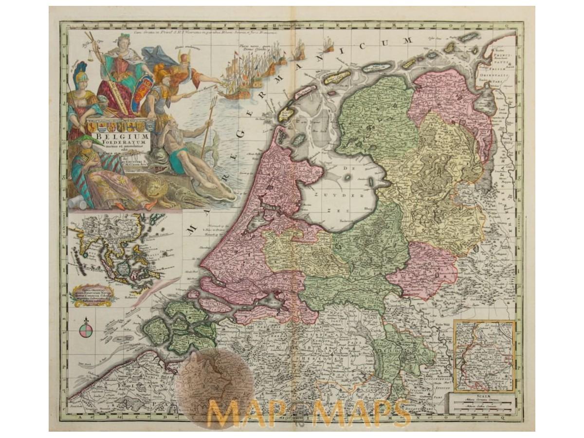 seven united netherlands belgium foederatum seutter 1727