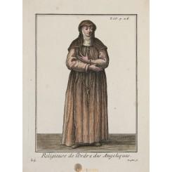 ANGELIQUE DE SAINT-JEAN ANTIQUE PRINT L' ORDE DES ANGELIQUES HELYOT 1714