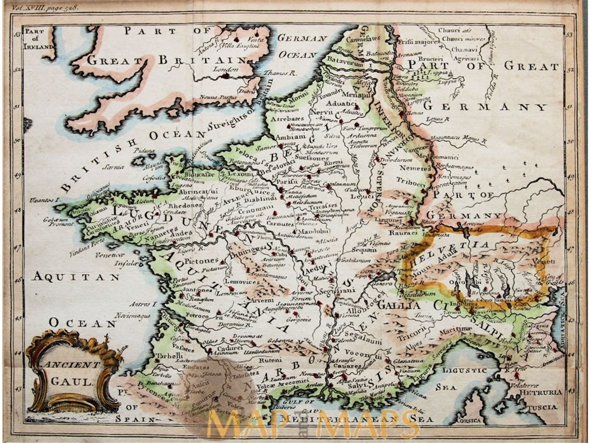 Ancient Gaul Map Western Europe Cellarius Mapandmaps - Map of western europe