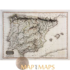 SPAIN AND PORTUGAL ANTIQUE ATLAS MAP by CADELL & DAVIES 1810