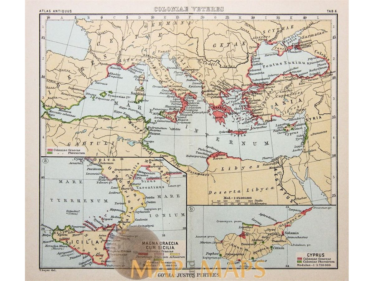Greece history antique map cyprus justus perthes 1893 mapandmaps coloniae veteres antique map ancient world by justus perthes 1893 loading zoom publicscrutiny Gallery