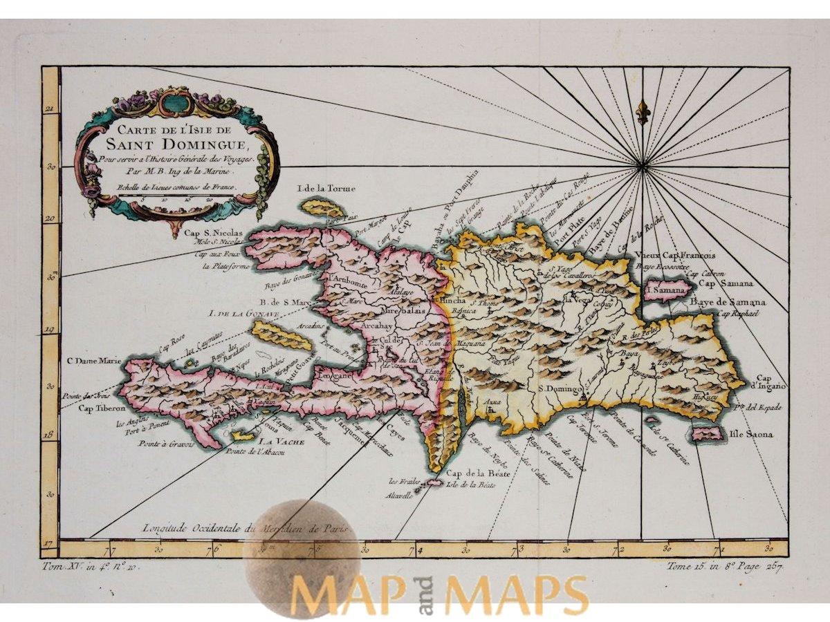 Caribbean Map Haiti-The Dominican Republic Bellin 1754   Mapandmaps