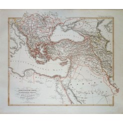OTTOMAN EMPIRE BALKAN PENINSULA ORIGINAL ANTIQUE MAP KARL SPRUNER 1846