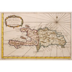 SAINT-DOMINGUE, CARIBBEAN ANTIQUE MAP BELLIN 1758