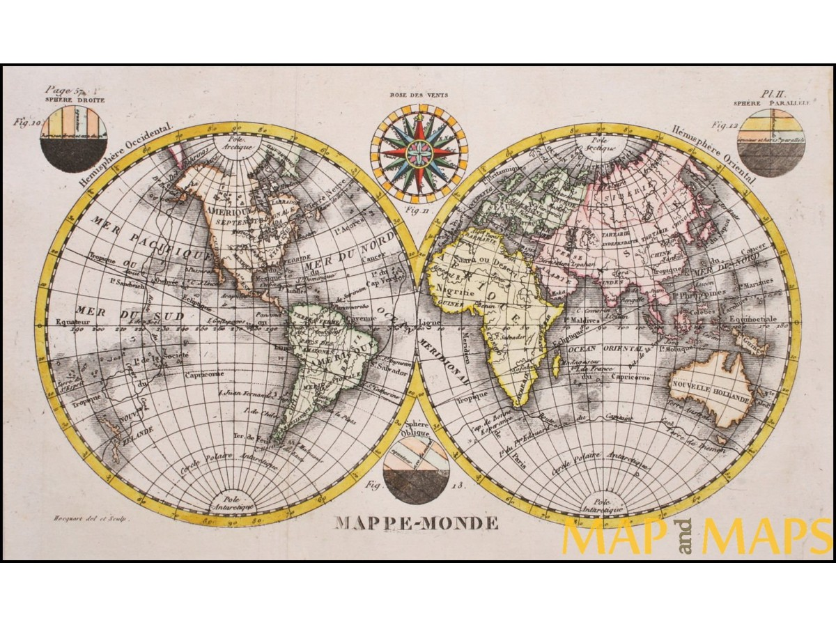 Mappemonde world map compas rose globe into two hemispheres old mappemonde world map compas rose globe into two hemispheres old map c1780 gumiabroncs Gallery