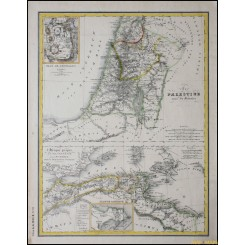 Palestine Jerusalem North Africa original old map Heck 1842