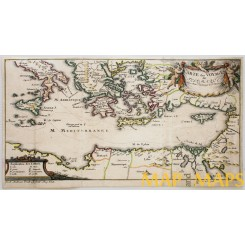 Antique map of the Mediterranean, Telemachus' journey, by Jacob Fridrich 1717