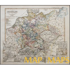 Antique map Historical of Germany, Thirty Years' War - by Karl Spruner 1846