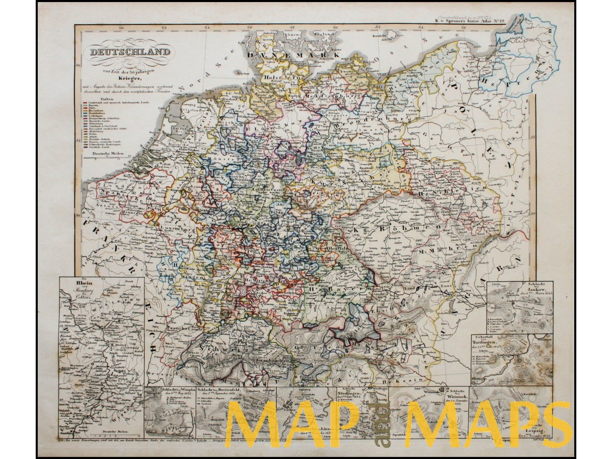 Antique Map Historical Of Germany Thirty Years War By Karl - Map germany thirty years war