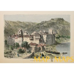 Eastern Orthodox monastery of Sphigmenou Greece, Old print hand colored 1880.