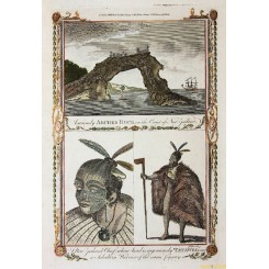NEW ZEALAND WARRIERS, ARCHED ROCK, COPPER PRINT, COOK VOYAGES BY HOGG 1790.